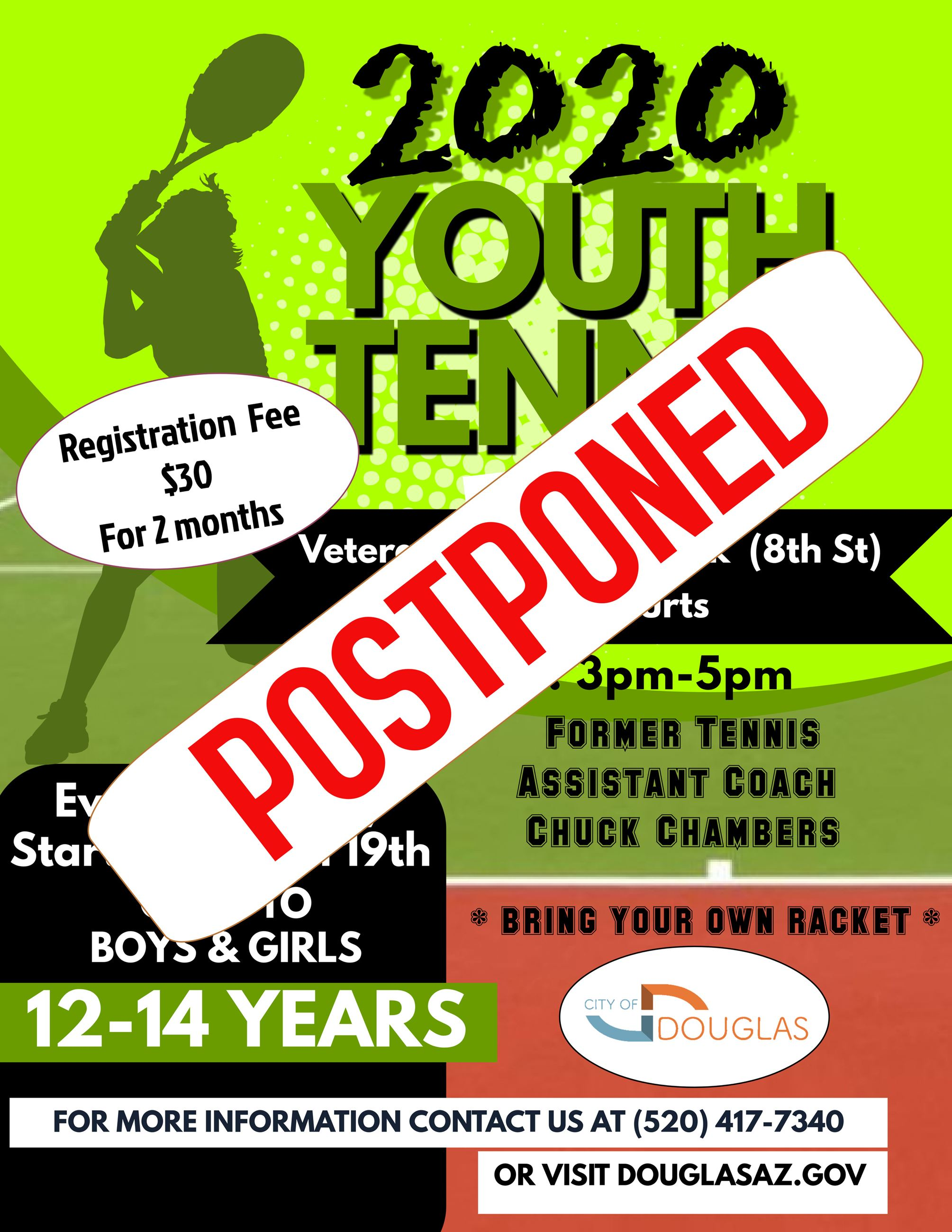 Youth Tennis Program POSTPONED