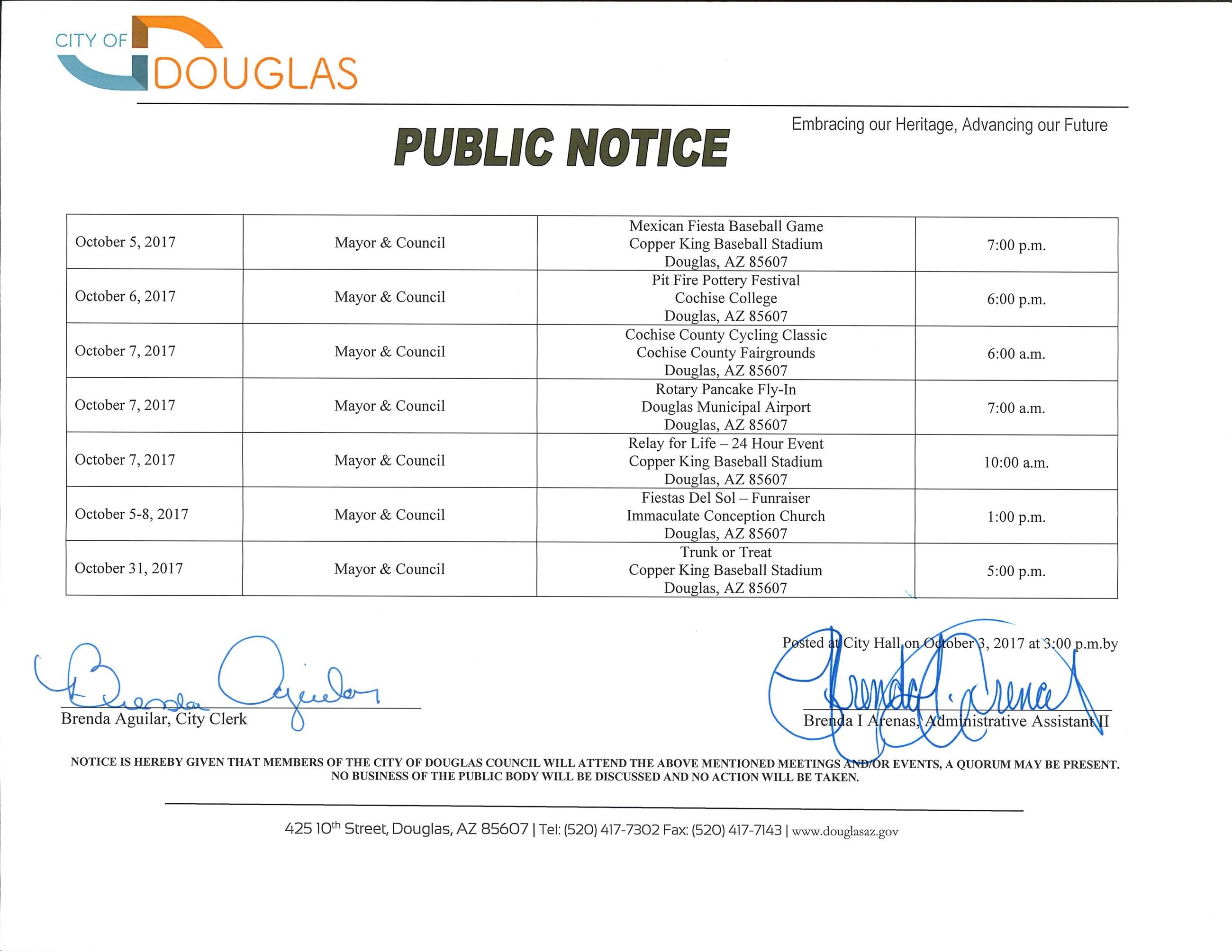 Mayor and Council Public Notice